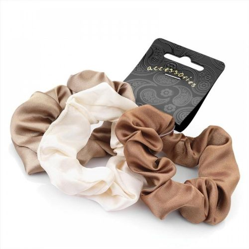 Brown Tone Satin Feel Hair Scrunchies Bobbles - Set of 3